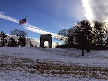 Chuck and Lori's Travel Blog - Arch Memorial and Flag, Valley Forge, PA