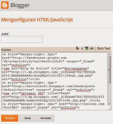 tambahkan kode html widget sosial media