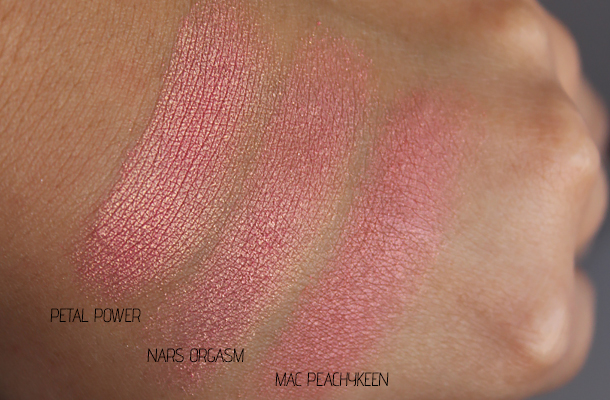 mac mineralize blush petal power swatch dupes