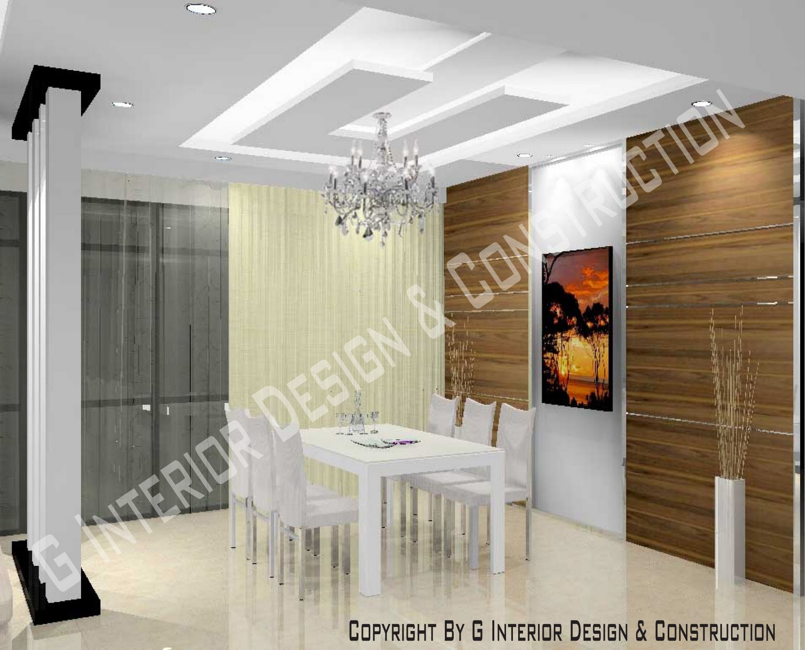 3d drawing interior design for Hall to dining designs