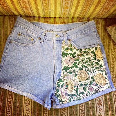 Reworked Levis, Denim, Parisian Sweet, Levis, Sanderson, Floral, Denim Shorts, Vintage, Vintage Shopping