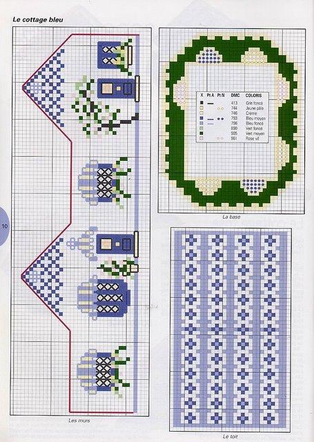 Схема вышивки объемного домика