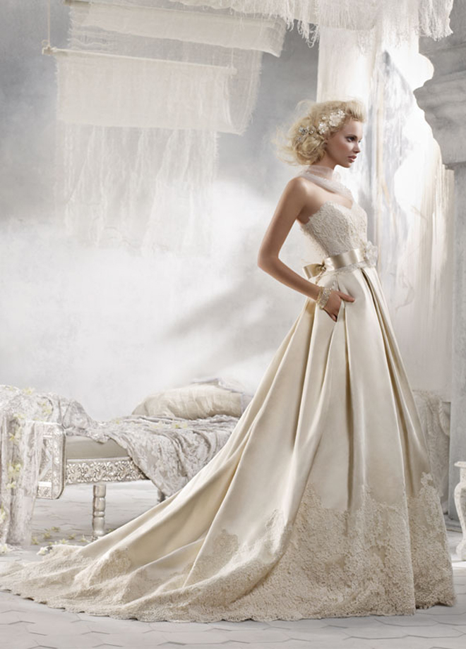 Alvina valenta 2012 bridal collection dress of the week for Silk and lace wedding dresses
