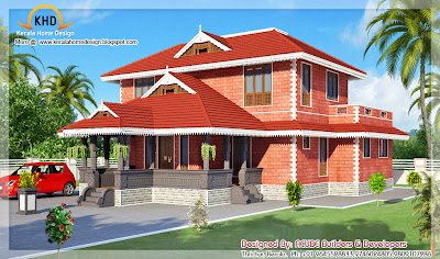 Kerala Style House Architecture - 186 Square meter (2000 SqFT