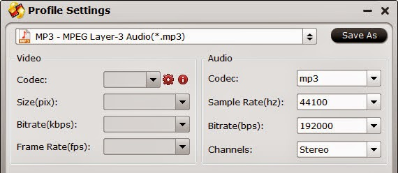 MP3 Audio Settings