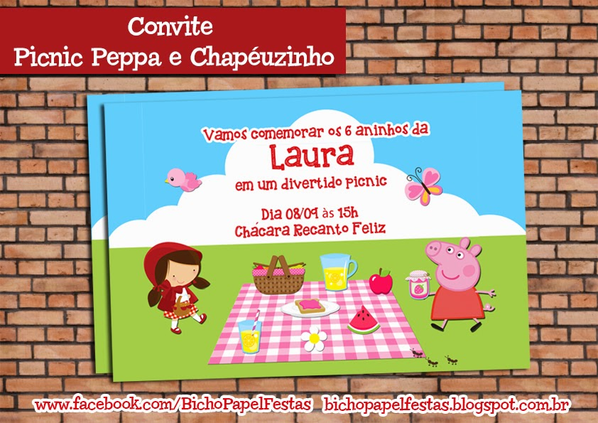 Convite Picnic Peppa e Chapéuzinho
