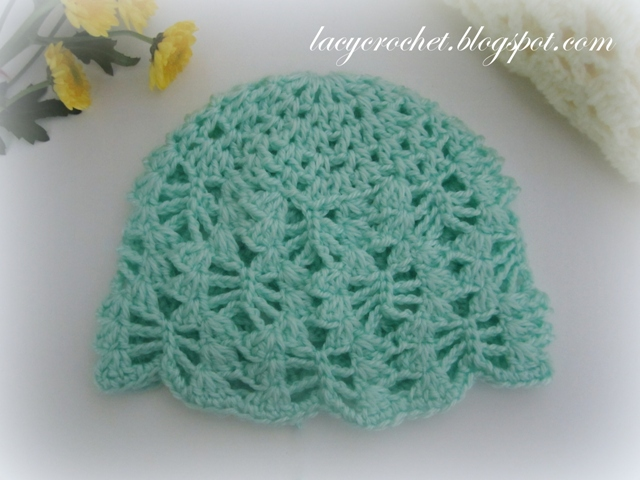 Free Crochet Patterns For A Baby Blanket : Lacy Crochet: Lacy Stitch Baby Hat Size 3-6 Months, Free ...