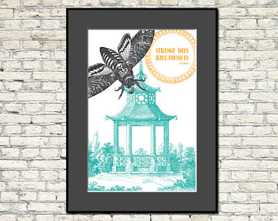 vintage pagoda and moth illustrations with text