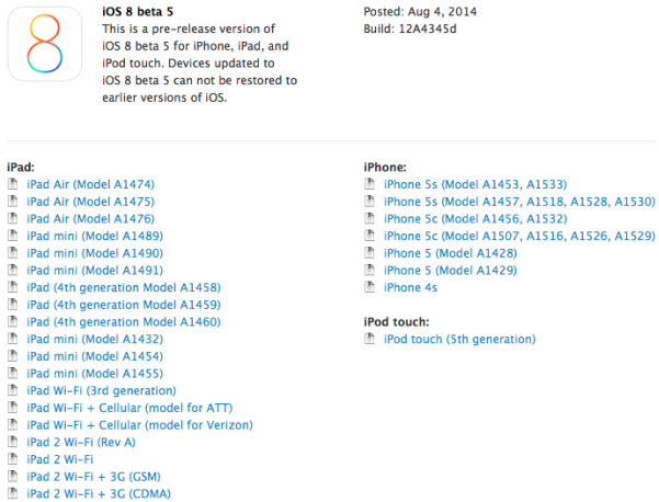 Apple iOS 8 Beta 5 Build.12A4345d Firmwares