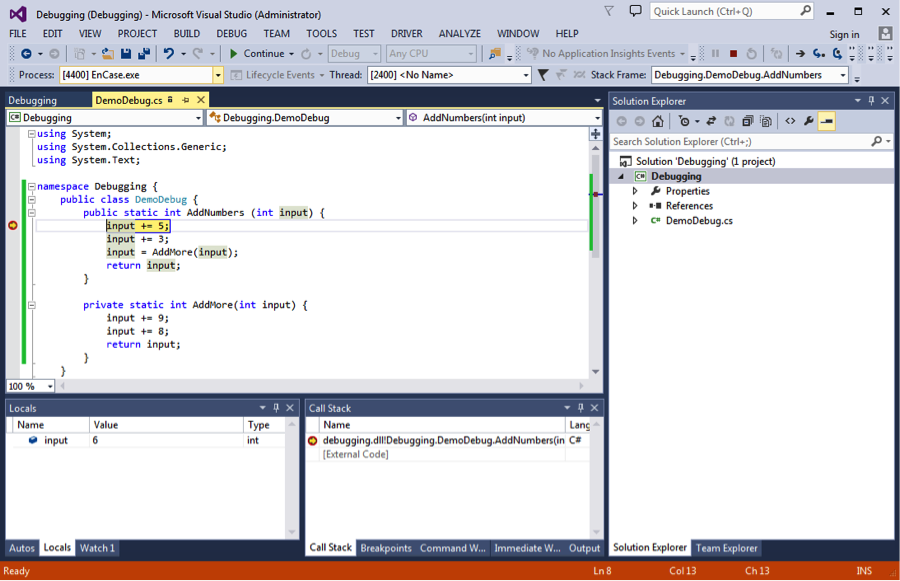 Microsoft Visual Studio C# Code Showing Breakpoint