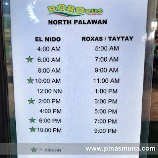 Schedule of Roro Bus going to El Nido Palawan
