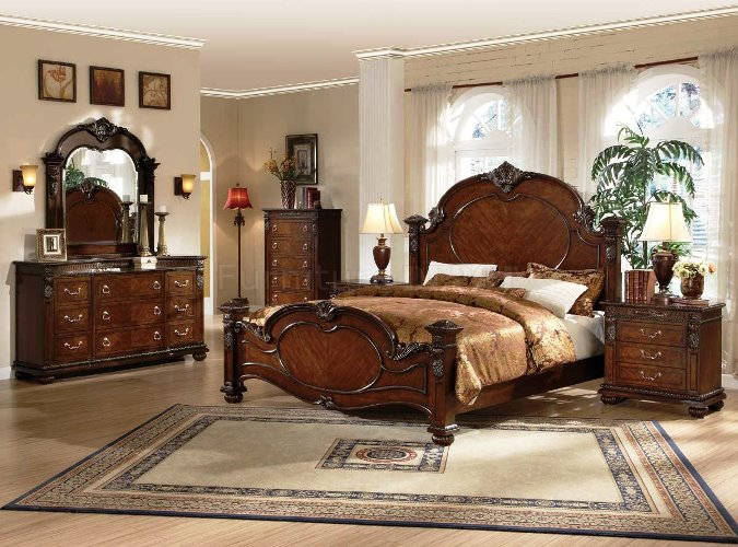 Traditional dark cherry bedroom glossy furniture with antique table