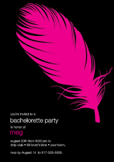 bachelorette party invite feather