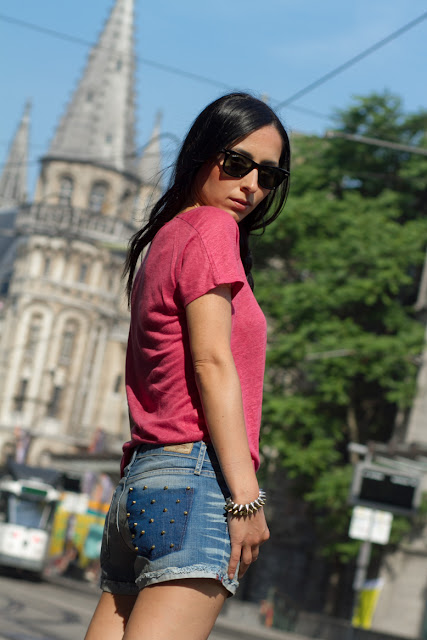 VISITING GHENT: PINK and DENIM STUDDED SHORTS