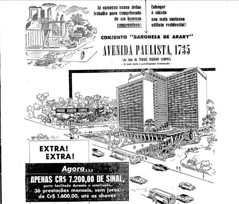 Predio+Baronesa+de+Arary FM 2+5+54 - Série Avenida Paulista: Baronesa de Arary da nobreza ao modernismo, da decadência às brigas condominiais.