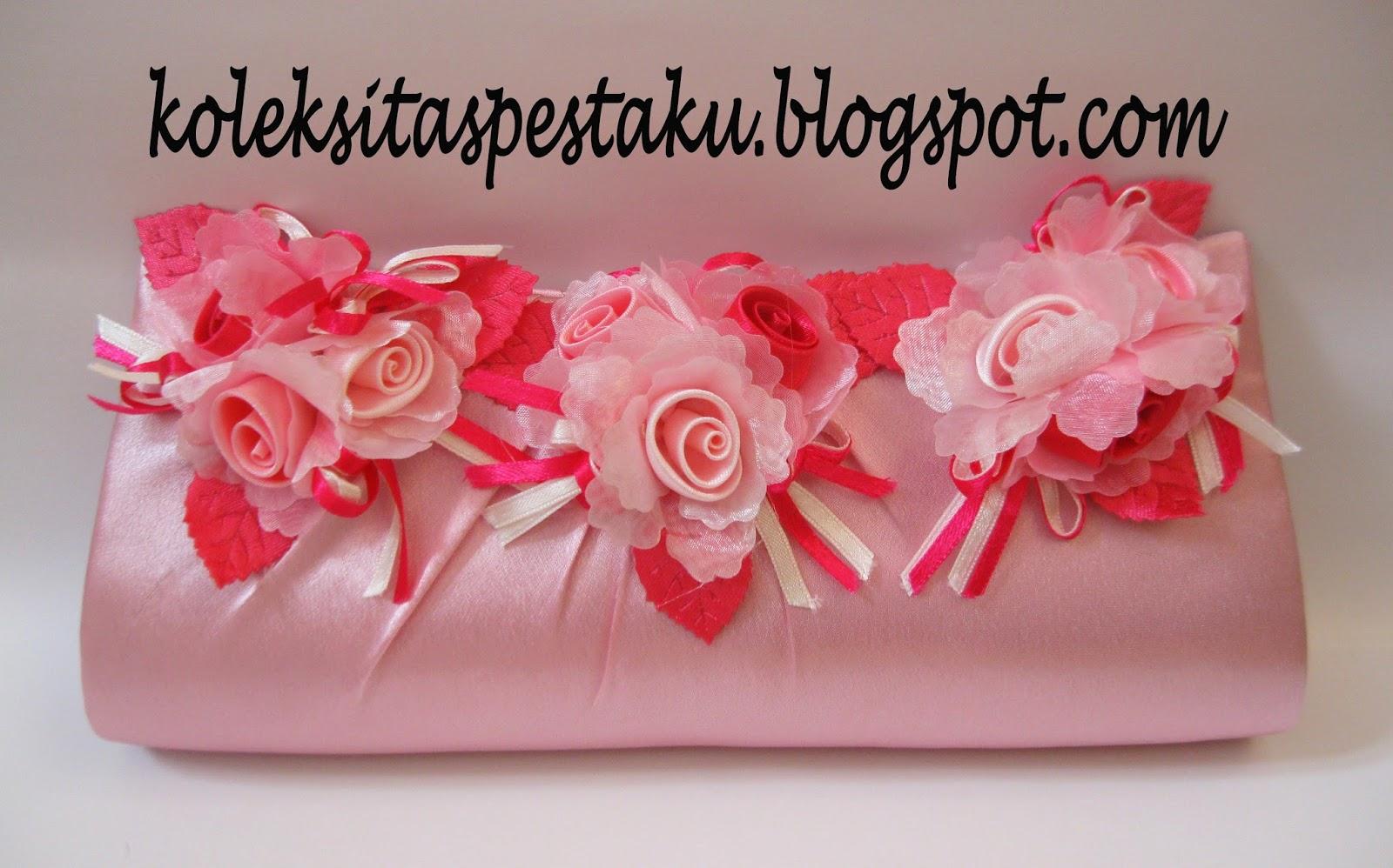 Tas Pesta - Clutch Bag Pink Baby Bunga Corsase