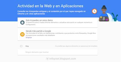 Actividad en la web y en aplicaciones de Google