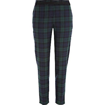navy green tartan trousers