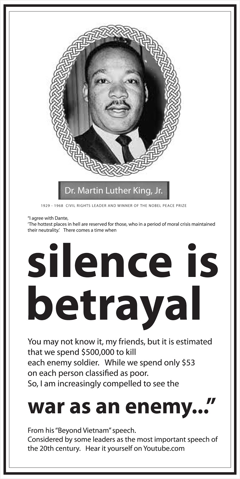 martin luther king beyond vietnam Martin luther king jr (january 15, 1929 – april 4,  the beyond vietnam speech reflected king's evolving political advocacy in his later years,.
