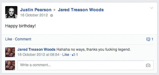 Justin Pearson wished me happy birthday