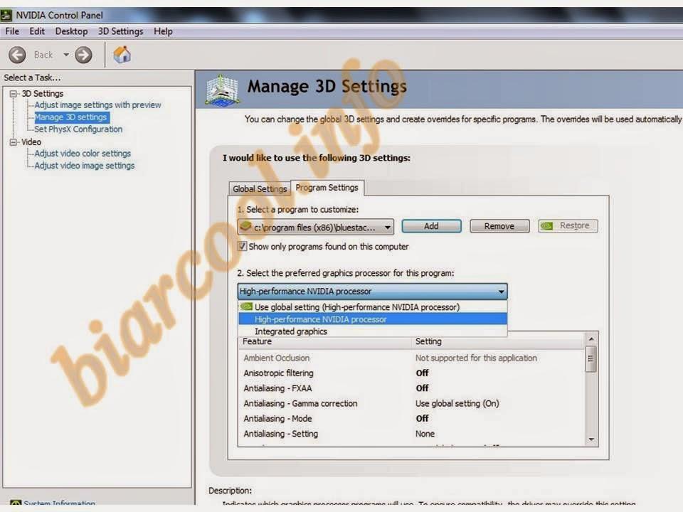tips cara mengoptimalkan android emulator for pc windows via nvidia control panel line 2