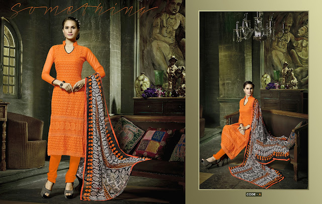 Latest Chiffon Embroidery Churidar Dress Material