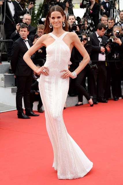 Izabel Goulart in a gorgeous white Roberto Cavalli gown at Cannes 2014