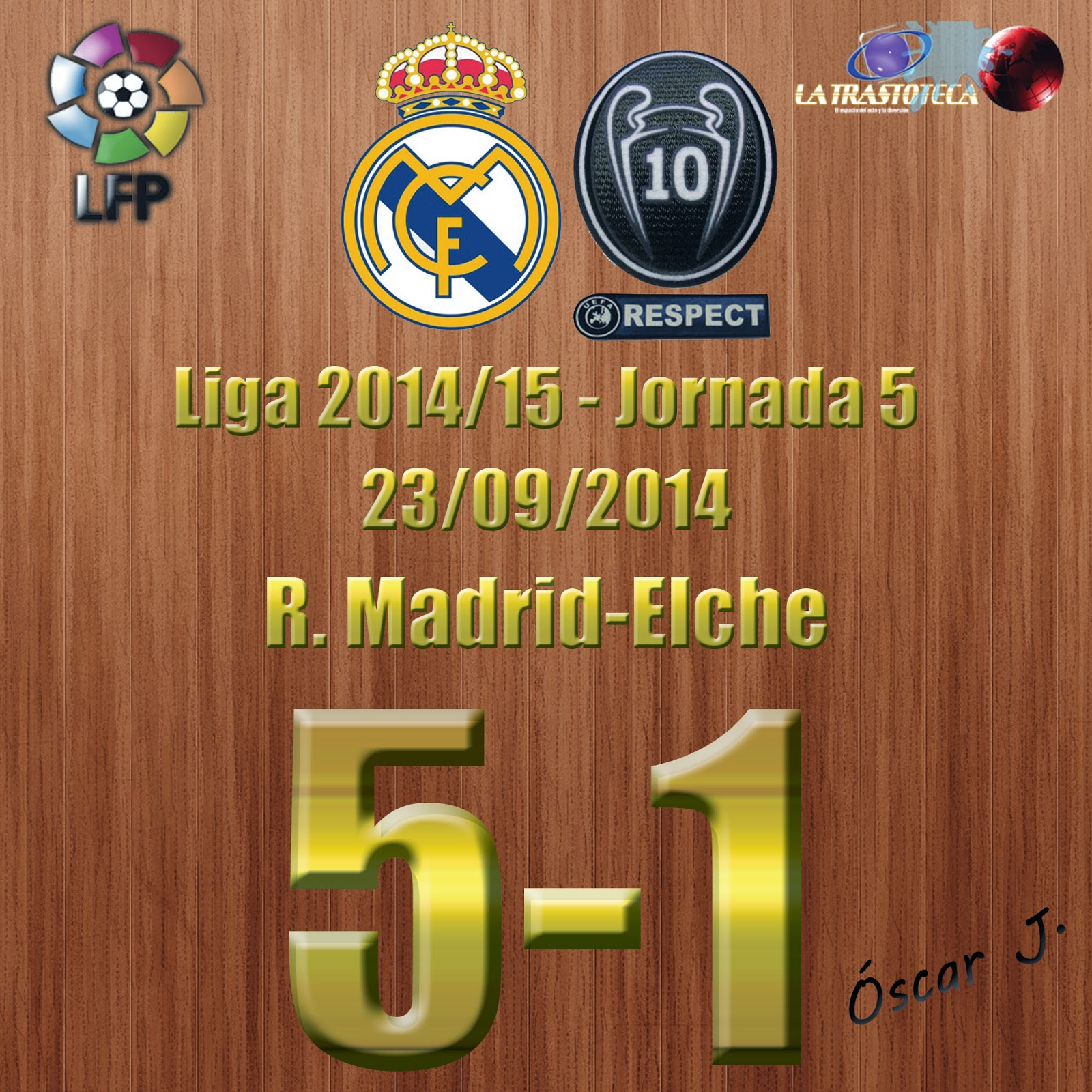 Real Madrid 5-1 Elche - Liga 2014/15 - Jornada 5. Goleada con Póker de Cristiano Ronaldo.