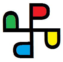 P like pinwheel logo