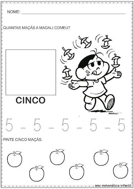 Atividade Numeral 5 com a Magali Turma da Mônica