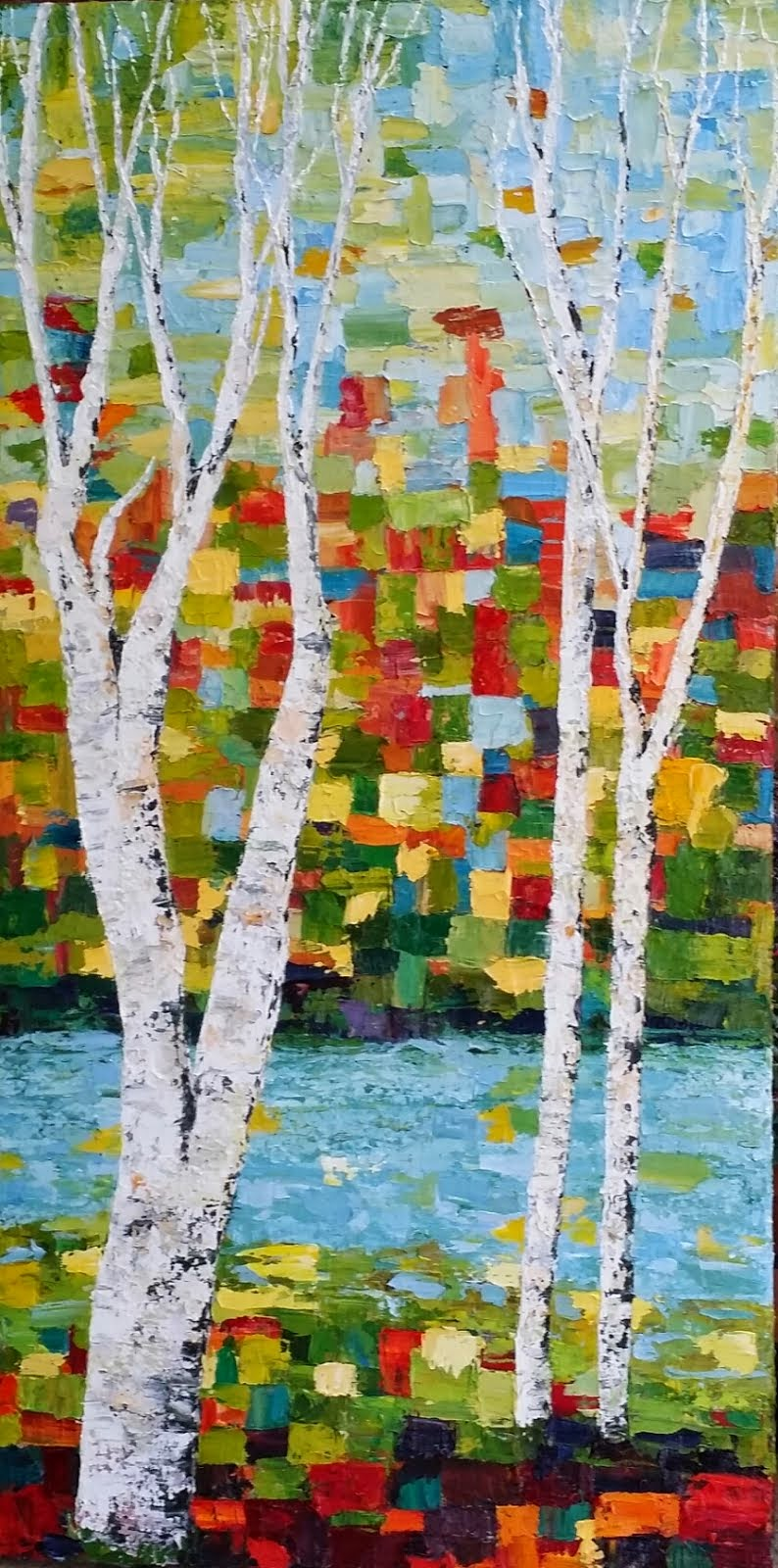 Two Tall Mosaic Birch Paintings