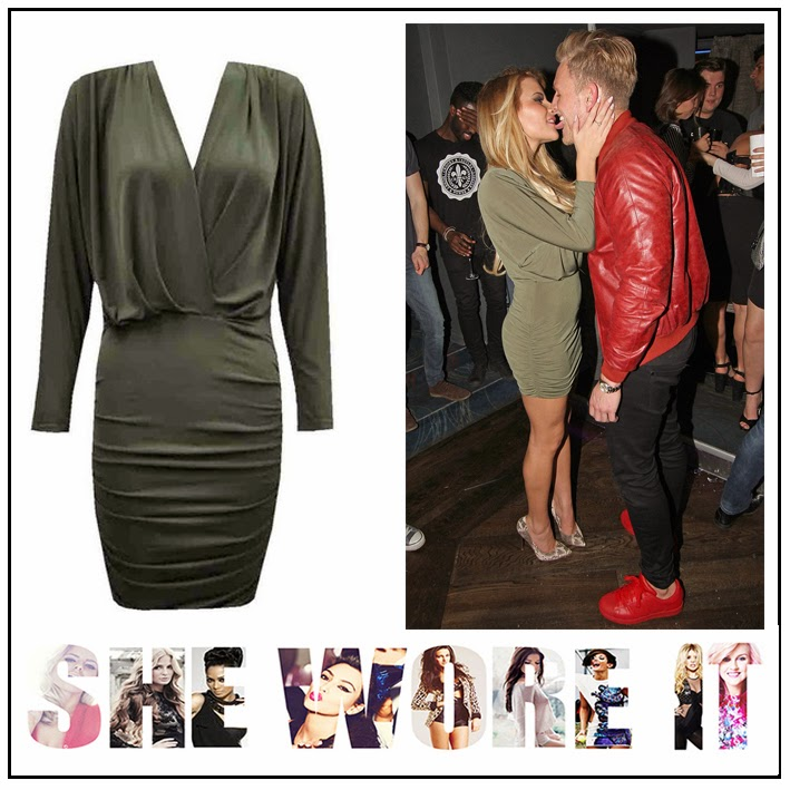 3/4 Sleeve, Bodycon, Celebrity Fashion, Cross Over Front, Draped, Dress, Gathered, Georgia Kousoulou, John Zack, Mini Dress, Ruched, Seam Detail, The Only Way Is Essex, TOWIE, V-Neck, Wrap Front, Celebrity Fashion,