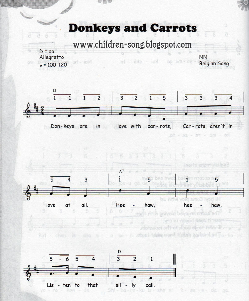Donkeys Love Carrots Song with Notes and Chords
