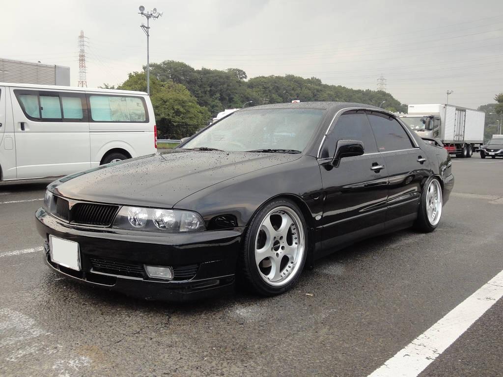 Mitsubishi Diamante II, japoński sedan, JDM, black, czarny lakier