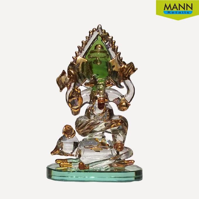 Mannretails Chuha Ganesha With Green Pan Leaf Gold Polished