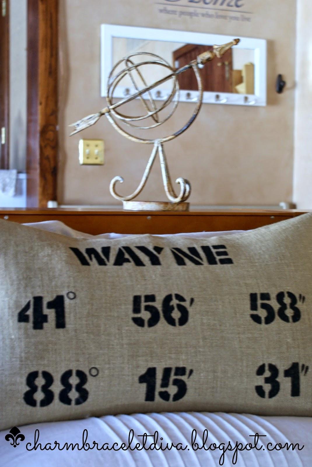 DIY map coordinates pillow