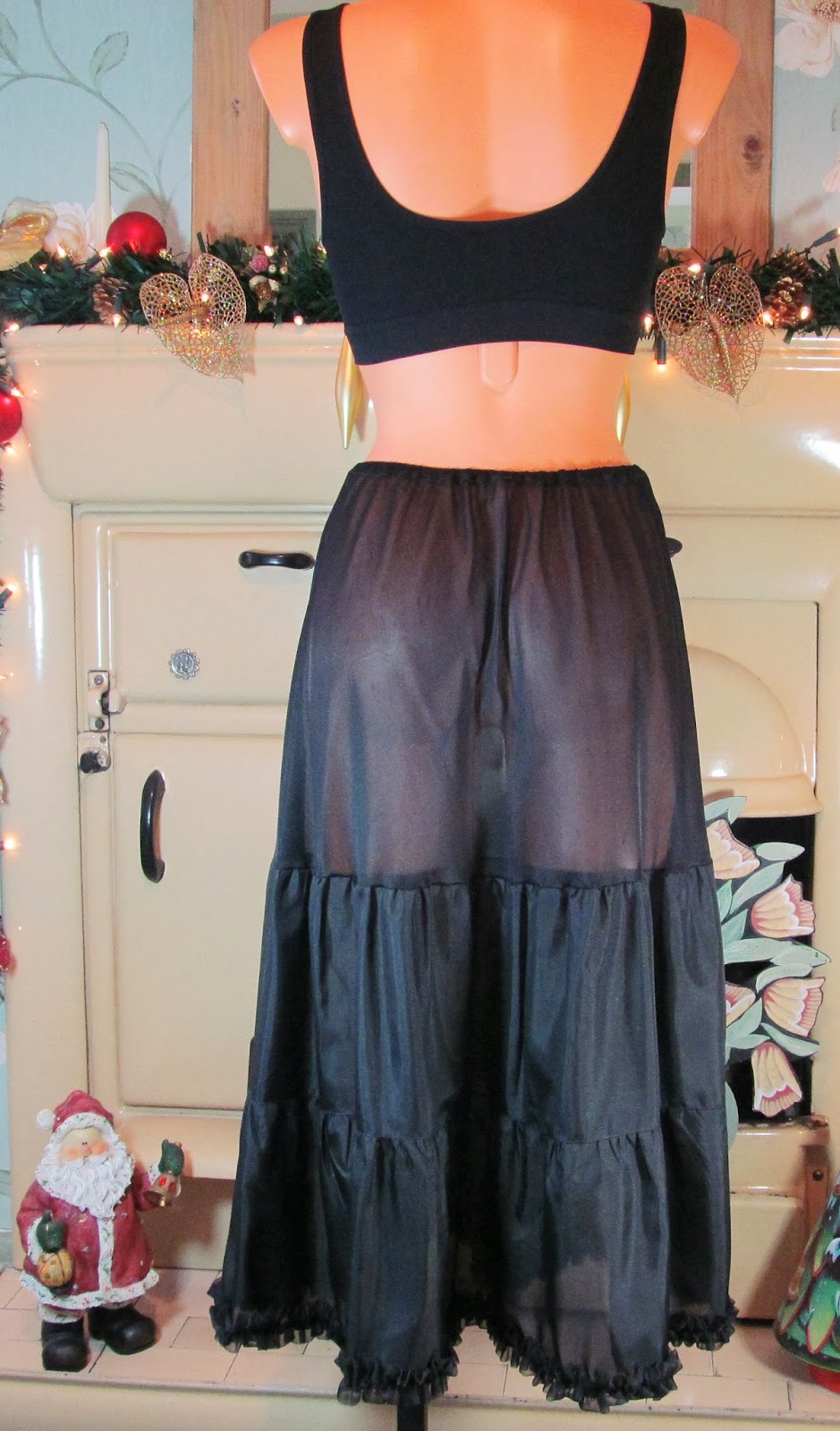 Vtg Black Soft Top Perlon Sissy Frilly Half Slip Petticoat