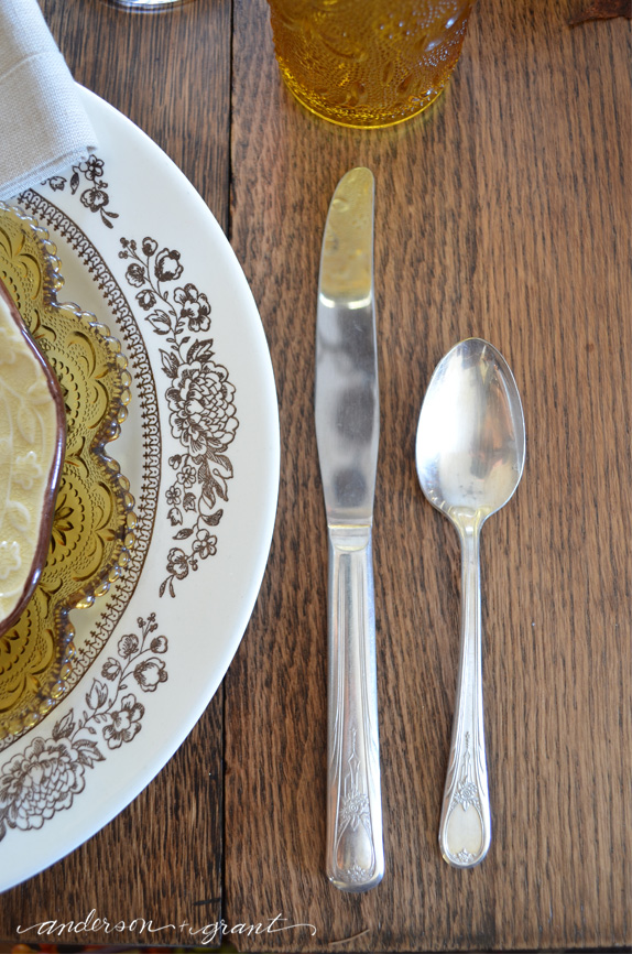 Vintage silver on Thanksgiving table | anderson + grant