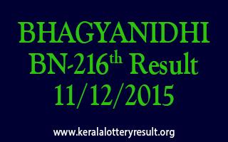 BHAGYANIDHI BN 216 Lottery Result 11-12-2015