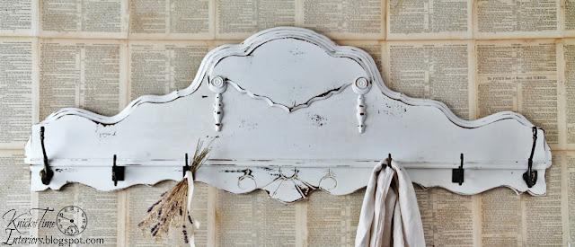 repurposed antique headboard coat rack - www.knickoftime.net