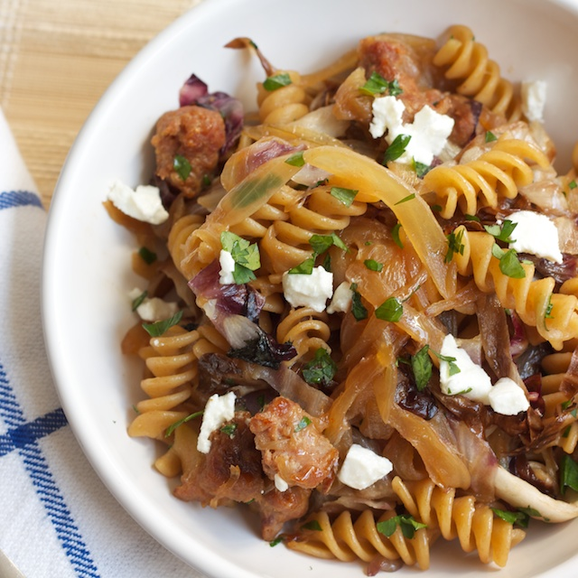 Dude Food: Rotini with Caramelized Onions and Sausage