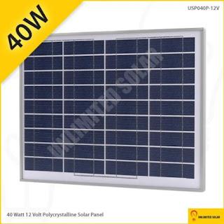 Solar Cell Polycrystalline 40 Watt 12 Volt