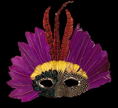 Máscara Carnaval PNG - Brilhantes e plumas roxo plus
