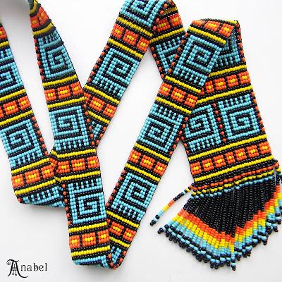 купить гердан гайтан этническое яркое украшение ручной работы из бисера Anabel