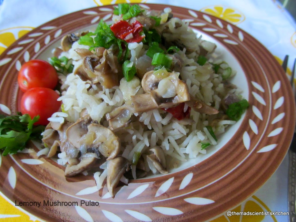 Lemony Mushroom Pulao