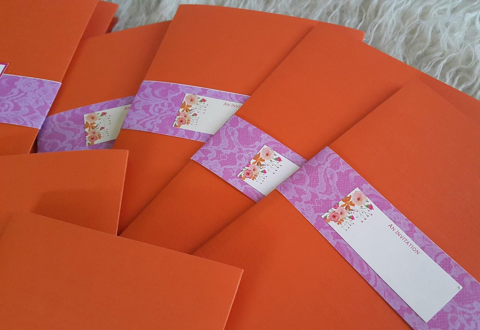 beautiful pocket tri-fold wedding invitation in fuchsia and ...