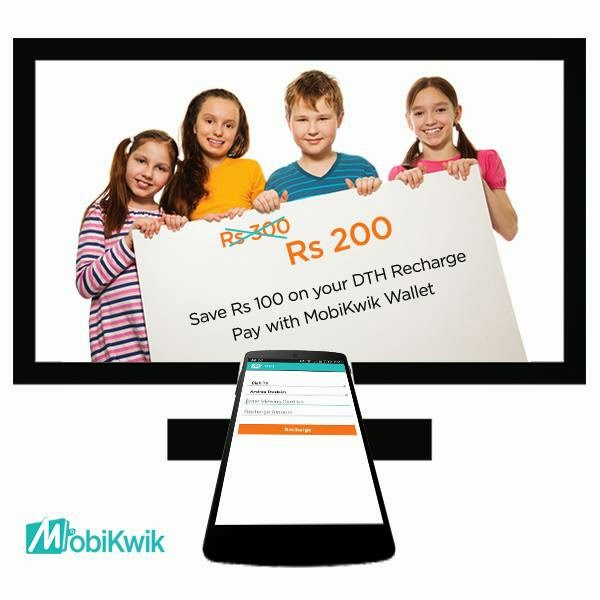Mobikwik Rs 100 Cashback on DTH recharge of Rs 300