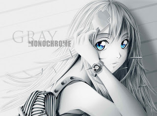 Cute Anime Girl Blue Eyes Gray HD Wallpaper