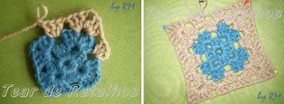 Continuando o crochê com uma segunda cor de lã.