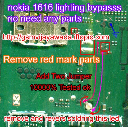 Nokia 1616 lighting by pass no need any componet tested 1000000%